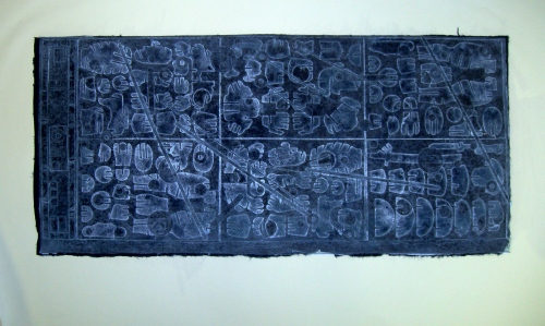 starchart#2 with white ink and dark blue lokha paper
